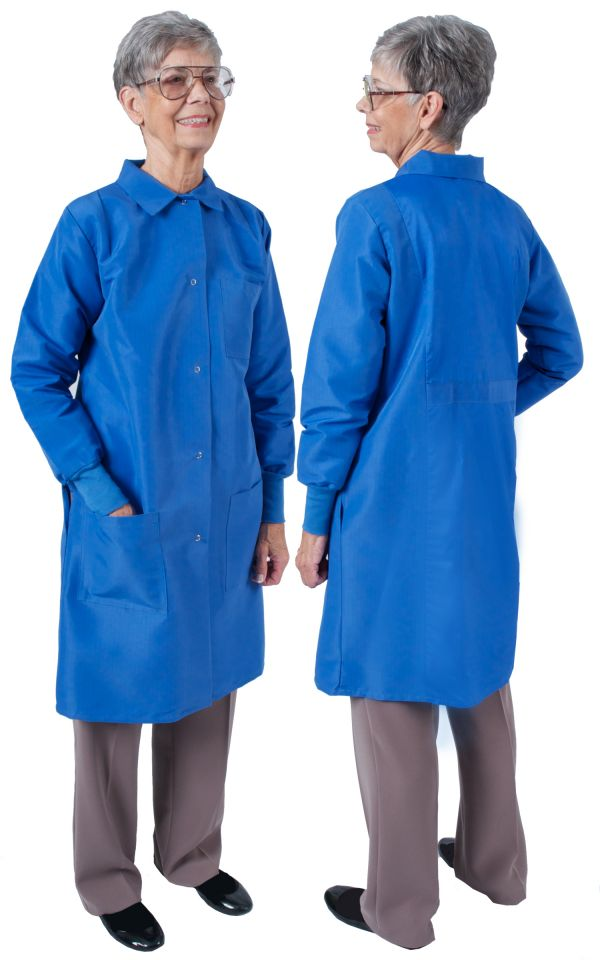 Ladies Long Length Lab Coats Traditional Collar